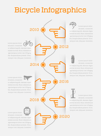 Timeline business infographic with bike elements and accessories icons vector illustration Vector