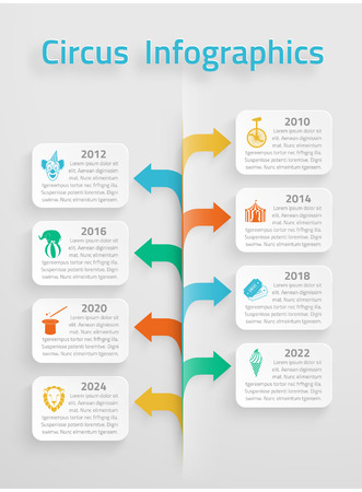 prognosis: Timeline statistics  infographic vintage circus chapiteau clown tickets sale prognosis estimates layout presentation arrows chart vector illustration