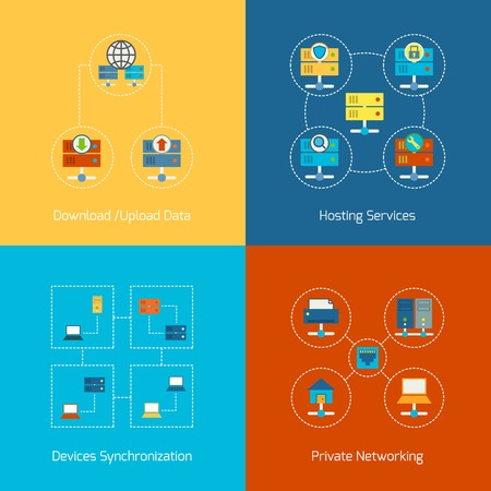 computer server: Business concept flat icons set of hosting computer network internet technology infographic design elements vector illustration