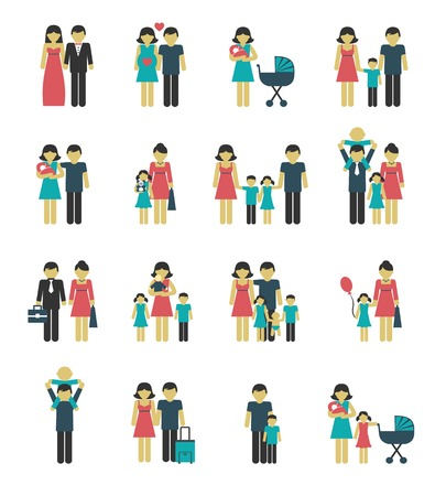 married: Family figures icons set of parents children married couple isolated vector illustration Illustration