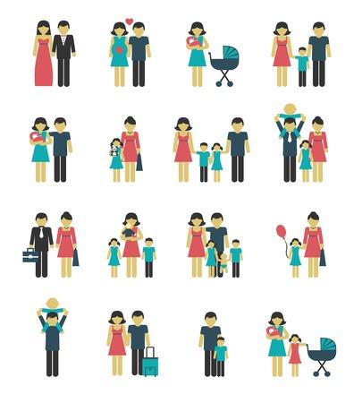 casados: Pareja aislada figuras familiares iconos conjunto de los ni�os de padres casados ??ilustraci�n vectorial