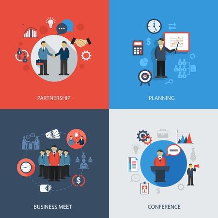 planificacion: Iconos planos Concepto de negocio conjunto de ilustraci�n de la planificaci�n asociaci�n reuni�n de la conferencia infograf�a elementos de dise�o vectorial