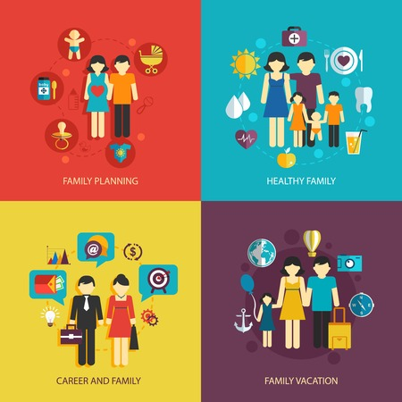 family isolated: Business concept flat icons set of family planning health career and vacation infographic design elements vector illustration