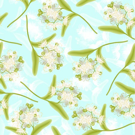 lindeboom: Bloeiende linden zomerbloemen naadloze patroon vector illustratie Stock Illustratie