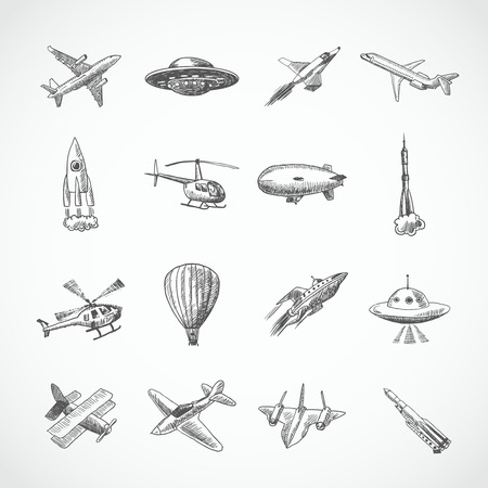 space wars: Aircraft helicopter military aviation airplane sketch icons set isolated vector illustration