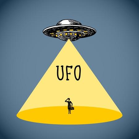 luz focal: Espacio Ufo volar boceto platillo con silueta humana en la luz del punto ilustraci�n del cartel de vectores