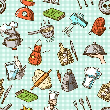 Cooking process delicious food sketch icons on squared background seamless pattern vector illustration Vector