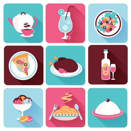 Restaurant food drink menu dishes decorative icons flat set isolated vector illustration Vector