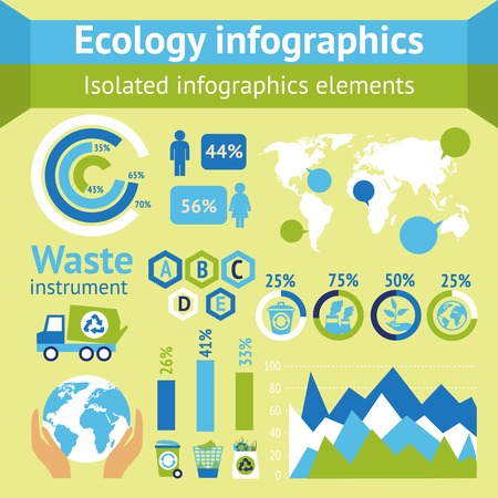Ecology and waste instruments isolated infographic elements vector illustration Vector