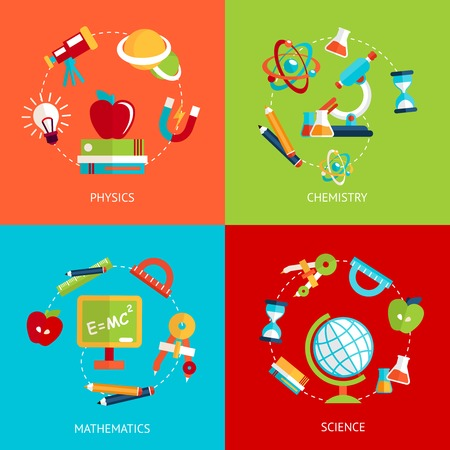 Business concept flat icons set of education physics chemistry mathematics and science infographic design elements vector illustration Vector