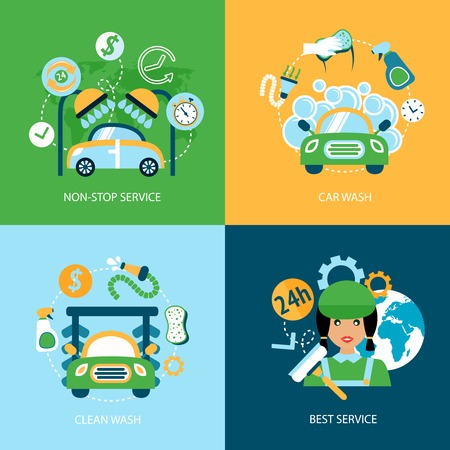 Business concept flat icons set of car wash best clean non stop auto service infographic design elements vector illustration Vector