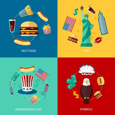 Business concept flat icons set of USA landmarks and fast food independence day symbols infographic design elements vector illustration Vector