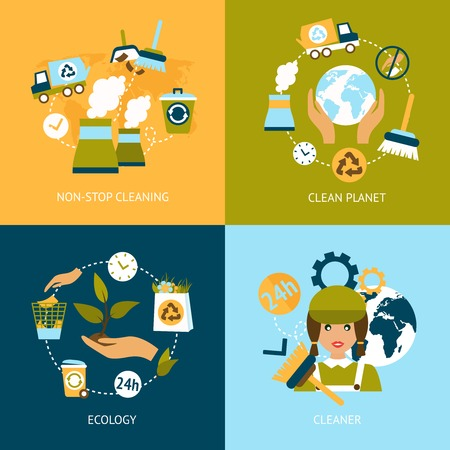 cleaning planet: Business concept flat icons set of ecology non stop planet cleaning green elements infographic design elements vector illustration