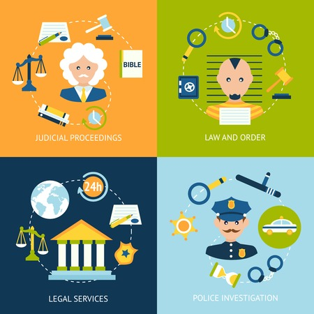 law and order: Business concept flat icons set of law and order judicial proceedings legal services police investigation infographic design elements vector illustration