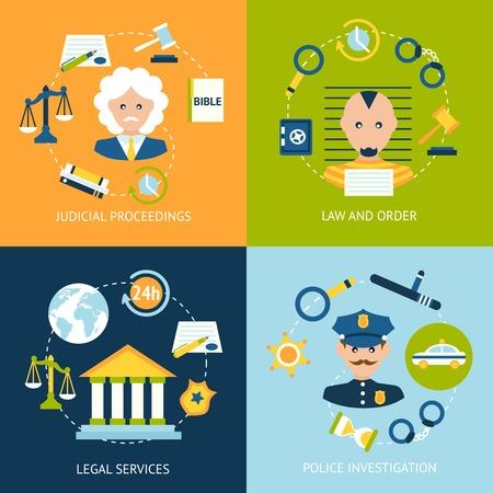 Business concept vlakke pictogrammen set van recht en orde gerechtelijke procedures juridische diensten politieonderzoek infographic design elementen vector illustratie