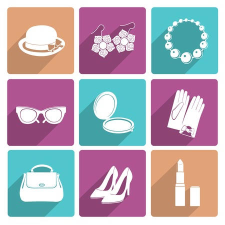 shoe sale: Woman fashion stylish casual shopping classic flat icons set of makeup footwear and accessories isolated vector illustration