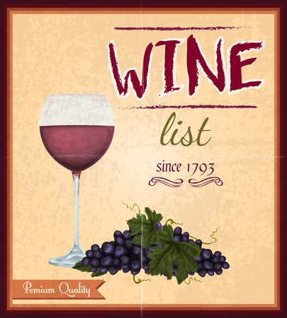 Wine drink list card menu template with glass of rose retro poster vector illustration Vector