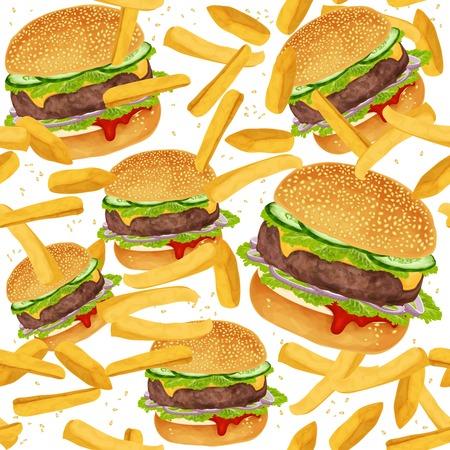 ファーストフード ハンバーガーとフライド ポテトとシームレスなパターン ベクトル イラスト  イラスト・ベクター素材