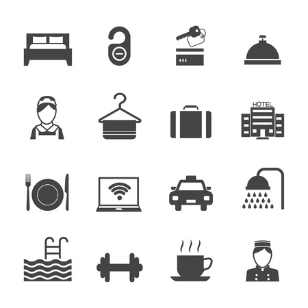 Hotel business accommodation elements black icons isolated vector illustration Vector