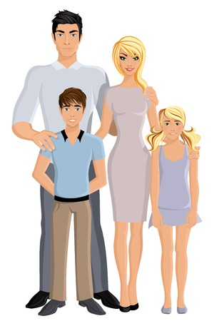 Happy family man woman parents and girl and boy kids full length portrait vector illustration.