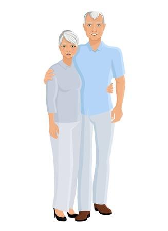 happy older couple: Old senior people family couple full length portrait vector illustration
