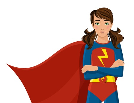 영웅 의상을 입은 여자 절반 길이 초상화 흰색 배경에 고립 벡터 일러스트 레이 션. 일러스트