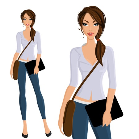 outdoor bag: Young beautiful happy girl student with bag and device portrait on outdoor background vector illustration Illustration