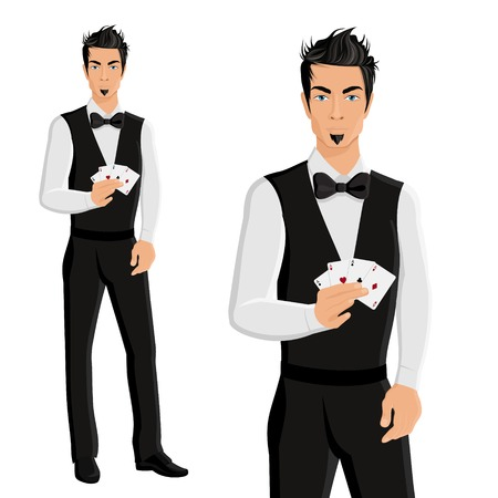 handsome young man: Handsome young man casino dealer with cards portrait isolated on white background vector illustration