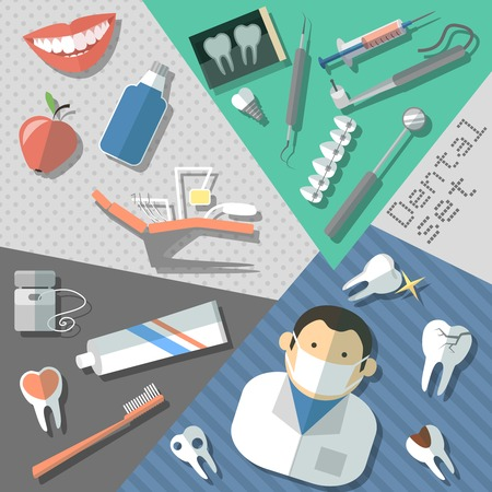 Dental teeth healthcare instruments stickers set isolated vector illustration Vector