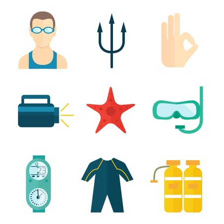 oxygen mask: Diving scuba flat icons set of oxygen mask wetsuit starfish isolated vector illustration
