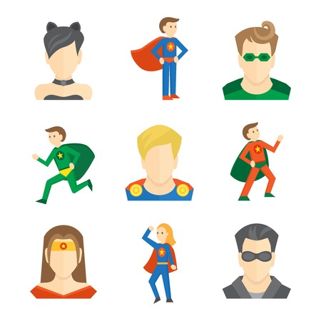 action hero: hero male and female avatars in masks and disguise flat set isolated vector illustration
