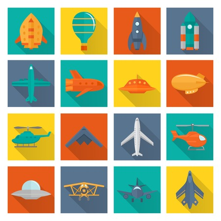 shadowed: Aircraft helicopter military aviation airplane flat shadowed icons set isolated vector illustration Illustration