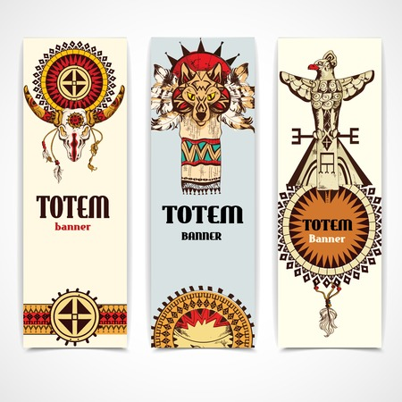 totem indien: Banni�res verticales ethniques am�ricain animaux totems tribaux color�s ensemble isol� illustration vectorielle