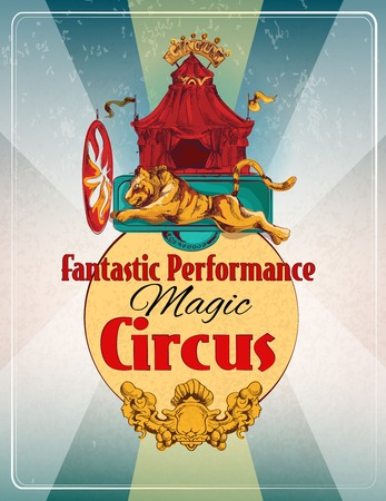 show ring: Magic chapiteau travelling circus fantastic performance show announcement retro poster with lion fire ring  trick vector illustration