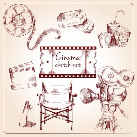 director's chair: Cinema entertainment media sketch elements of tickets camera popcorn vector illustration