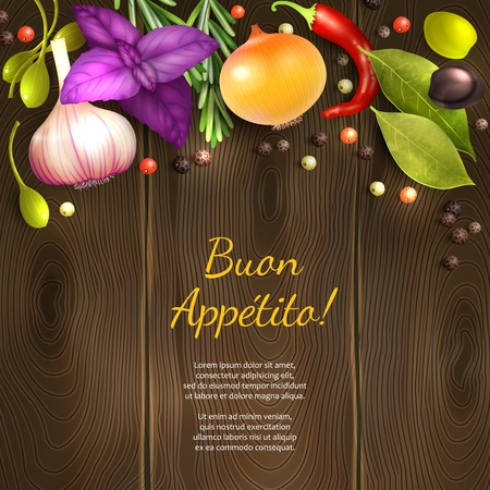 Herbs and spices on dark wooden background with Enjoy your meal title vector illustration Ilustração
