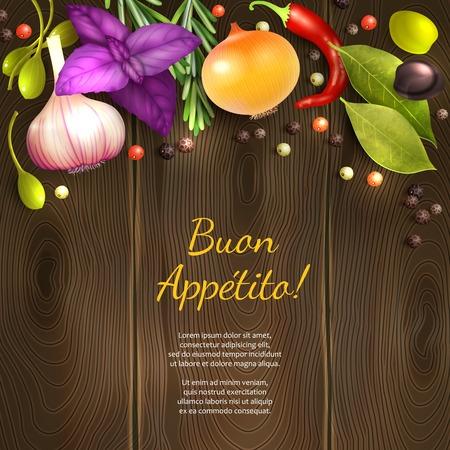 Kräuter und Gewürze auf hölzernen Hintergrund mit dunklen Genießen Sie Ihre Mahlzeit Titel Vektor-Illustration