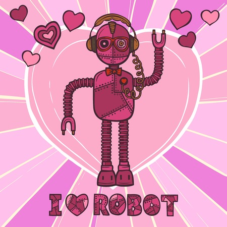 humanoid: Pink funky robot hipster retro fashion humanoid design poster vector illustration