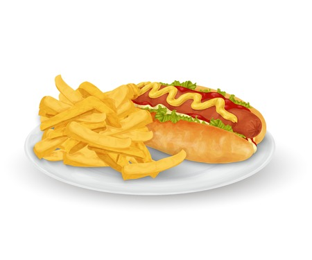 Realistic hot dog and french fries fast food on plate isolated on white background vector illustration Vector