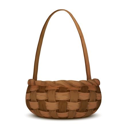 picnic basket: Empty wicker picnic basket isolated on white background vector illustration