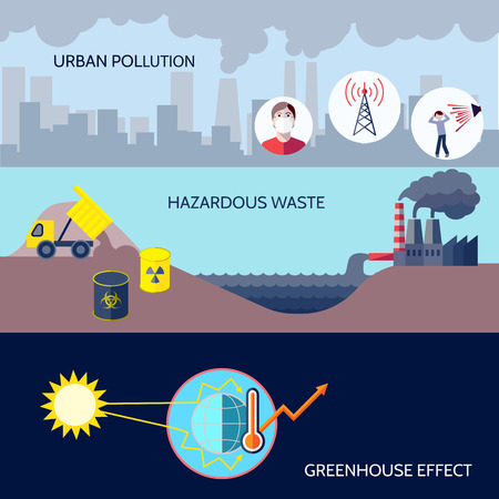 Water pollution: Pollution urban hazardous waste greenhouse effect icons flat set isolated vector illustration