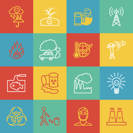 Pollution toxic environment damage radioactive garbage and global warming outline icons isolated vector illustration Vector