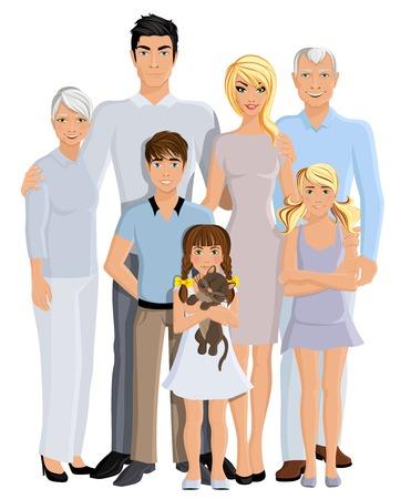 흰색 배경 벡터 일러스트 레이 션 행복 한 가족 세대 부모 조부모와 아이들 전체 길이 초상화