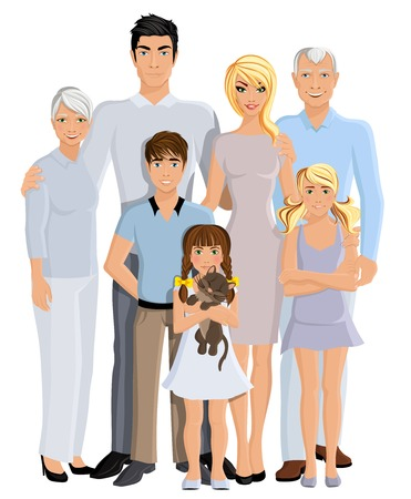 young generation: Happy family generation parents grandparents and kids full length portrait on white background vector illustration Illustration