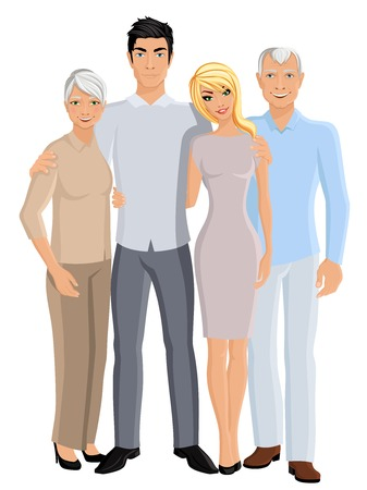 happy older couple: Old senior people family grandparents couple with adult son and daughter full length portrait vector illustration