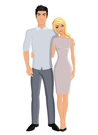 husband: Happy family husband and wife married couple portrait on white background vector illustration. Illustration