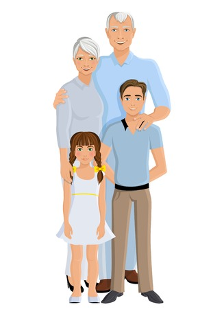 full length portrait: Old senior people family grandparents couple with granddaughter and grandson full length portrait vector illustration