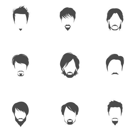 hombre guapo: Hombre hermoso hombres siluetas cabeza avatares establecen con los estilos de corte de pelo aislados ilustraci�n vectorial. Vectores
