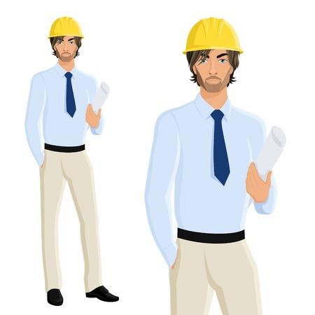 hombre guapo: Ingeniero guapo hombre en el casco con el papel plano aislado en fondo blanco ilustraci�n vectorial