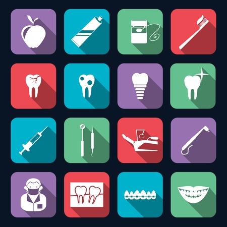 caries dental: Instrumentos sanitarios dientes dentales mella iconos planos de protección fijadas aisladas ilustración vectorial